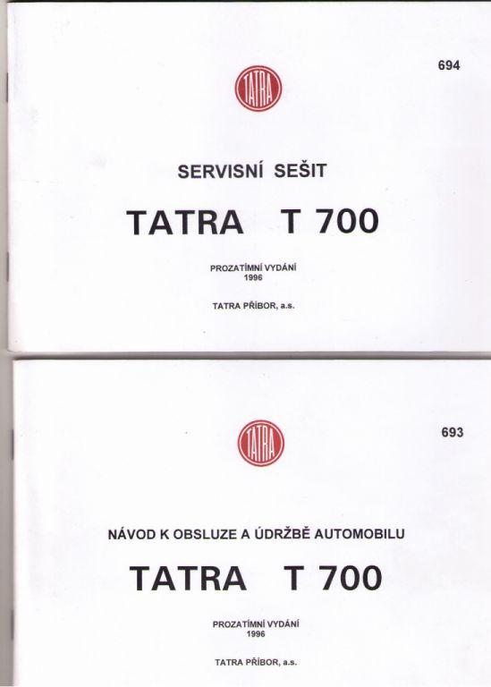 Tatra 700 - Servisní sešit, Návod k obsluze